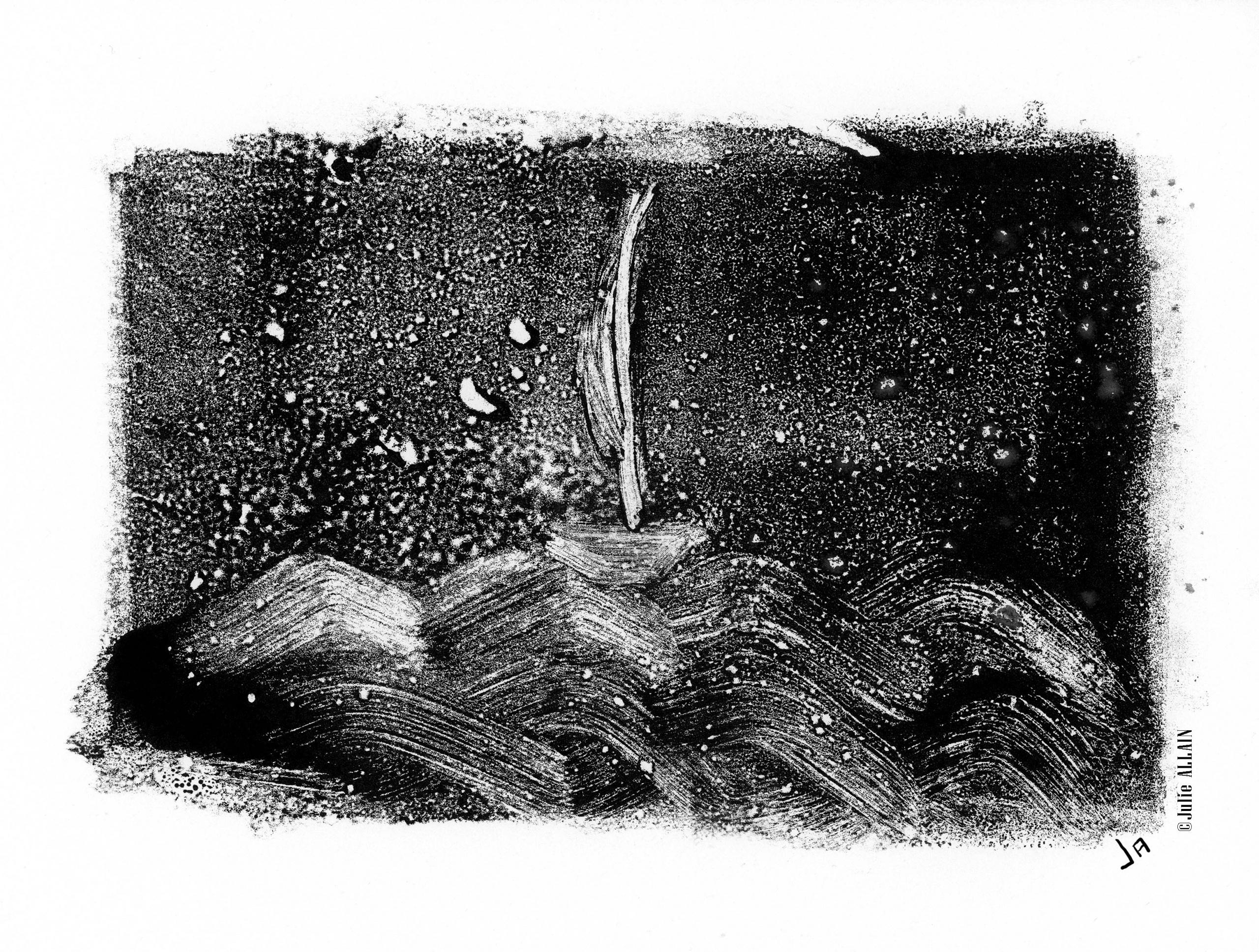 "série Monotypes "" tempête"""